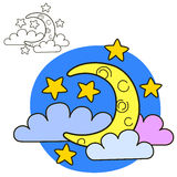Moon with stars and clouds. Coloring book page Royalty Free Stock Photo