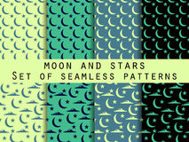 Moon, stars and clouds. Set seamless patterns  Royalty Free Stock Images