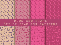 Moon, stars and clouds. Set seamless patterns The pattern for wallpaper, bed linen, tiles, fabrics, backgrounds. Stock Images