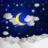 Moon and stars in the clouds. Stock Photo