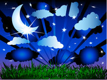 Moon and Stars Frame Background Stock Images