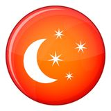 Moon and stars icon, flat style Royalty Free Stock Photography