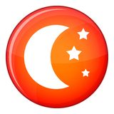 Moon and stars icon, flat style Stock Photos