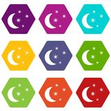 Moon and stars icon set color hexahedron Royalty Free Stock Photos