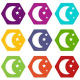 Moon and stars icon set color hexahedron. Moon and stars icon set many color hexahedron isolated on white vector illustration Stock Photos