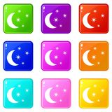 Moon and stars icons 9 set Stock Images