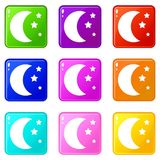 Moon and stars icons 9 set. Moon and stars icons of 9 color set isolated vector illustration Royalty Free Stock Image