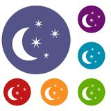 Moon and stars icons set. In flat circle reb, blue and green color for web Royalty Free Stock Photo