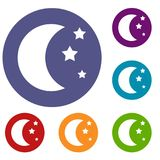 Moon and stars icons set. In flat circle reb, blue and green color for web Royalty Free Stock Photos