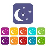 Moon and stars icons set. Vector illustration in flat style In colors red, blue, green and other Royalty Free Stock Photos