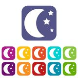 Moon and stars icons set. Vector illustration in flat style In colors red, blue, green and other Royalty Free Stock Images