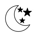 Moon with stars isolated icon Stock Images