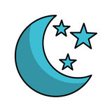 Moon with stars isolated icon Royalty Free Stock Image