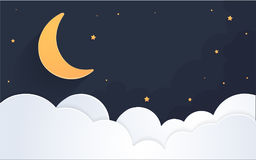 Moon and stars in midnight .paper art style. Vector illustration EPS 10 Royalty Free Stock Images