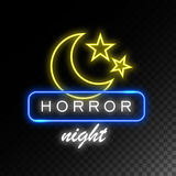 Moon and stars neon sign. Horror night.  Royalty Free Stock Photos