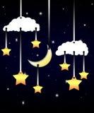 Moon and stars at night. Royalty Free Stock Photography