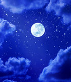 Moon Stars Night Sky. A night sky with stars, clouds and the moon royalty free illustration