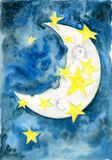 Moon and stars on the night sky. Stock Image