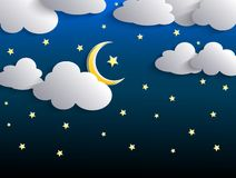 The moon and stars in night sky Stock Photo