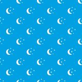 Moon and stars pattern seamless blue Royalty Free Stock Image