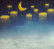 Moon and stars on the rope  ,background art Stock Photography