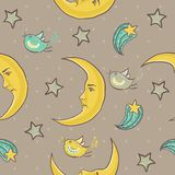 Moon and stars seamless pattern Royalty Free Stock Image
