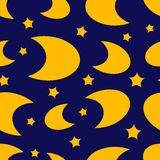 Moon and stars seamless texture Royalty Free Stock Photos
