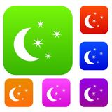 Moon and stars set collection. Moon and stars set icon in different colors isolated vector illustration. Premium collection Royalty Free Stock Photography