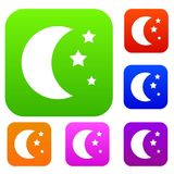 Moon and stars set collection Stock Photography