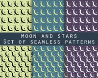 Moon and stars. Set seamless patterns The pattern for wallpaper, bed linen, tiles, fabrics, backgrounds. Stock Photography