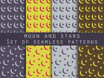 Moon and stars. Set seamless patterns The pattern for wallpaper, bed linen, tiles, fabrics, backgrounds. Royalty Free Stock Image