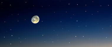 Moon stars sky. Night blue sky together with moon and stars Royalty Free Stock Photo