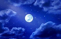 Free Moon Stars Sky Clouds Night Royalty Free Stock Photo - 12612685