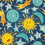 Moon stars and sun Stock Photos