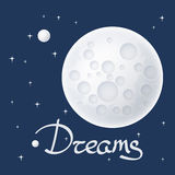 Moon with Stars and Text Royalty Free Stock Photos