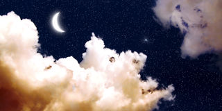 Moon and Stars Wallpaper Royalty Free Stock Photos
