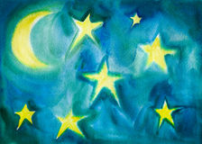 Moon and Stars Watercolor Children Style Painting Stock Photos