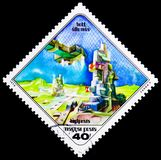 Moon Station, Science Fiction Paintings by Pal Varga serie, circ. MOSCOW, RUSSIA - MARCH 18, 2018: A stamp printed in Hungary shows Moon Station, Science Fiction Stock Images