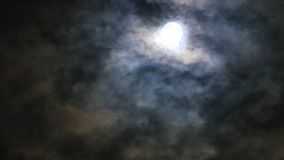 Moon and strange clouds in the night stock video footage