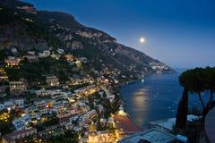 Moon Struck. Full Moon Over Positano - Amalfi Coast - Italy Royalty Free Stock Photos