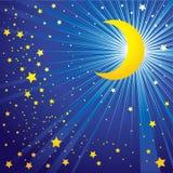 Moon sul cielo notturno Fotografie Stock Libere da Diritti