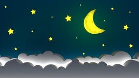 Moon sul cielo, progettazione dell'illustrazione della buona notte immagine stock libera da diritti
