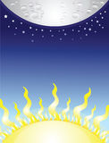 Moon and sun Stock Photos