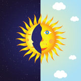 Moon and sun. Vector illustration of moon and sun Royalty Free Stock Photography