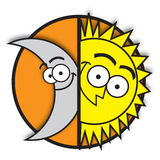 Moon & sun. An illustration of the moon and the sun Stock Photos