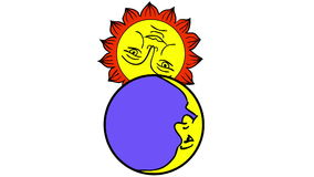 Moon And Sun cartoon stock footage