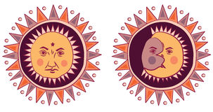Moon and Sun with faces Royalty Free Stock Image