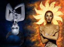 Moon and sun girls Royalty Free Stock Image