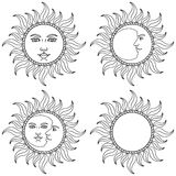 Moon and Sun  with human faces. Vector illustration. Stock Photos