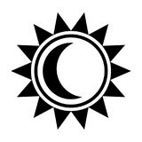 Moon and sun icon. Black sign in flat style isolated on white background. The moon is inside the sun. Line symbol for website design, app, ui. Vector Royalty Free Stock Photo